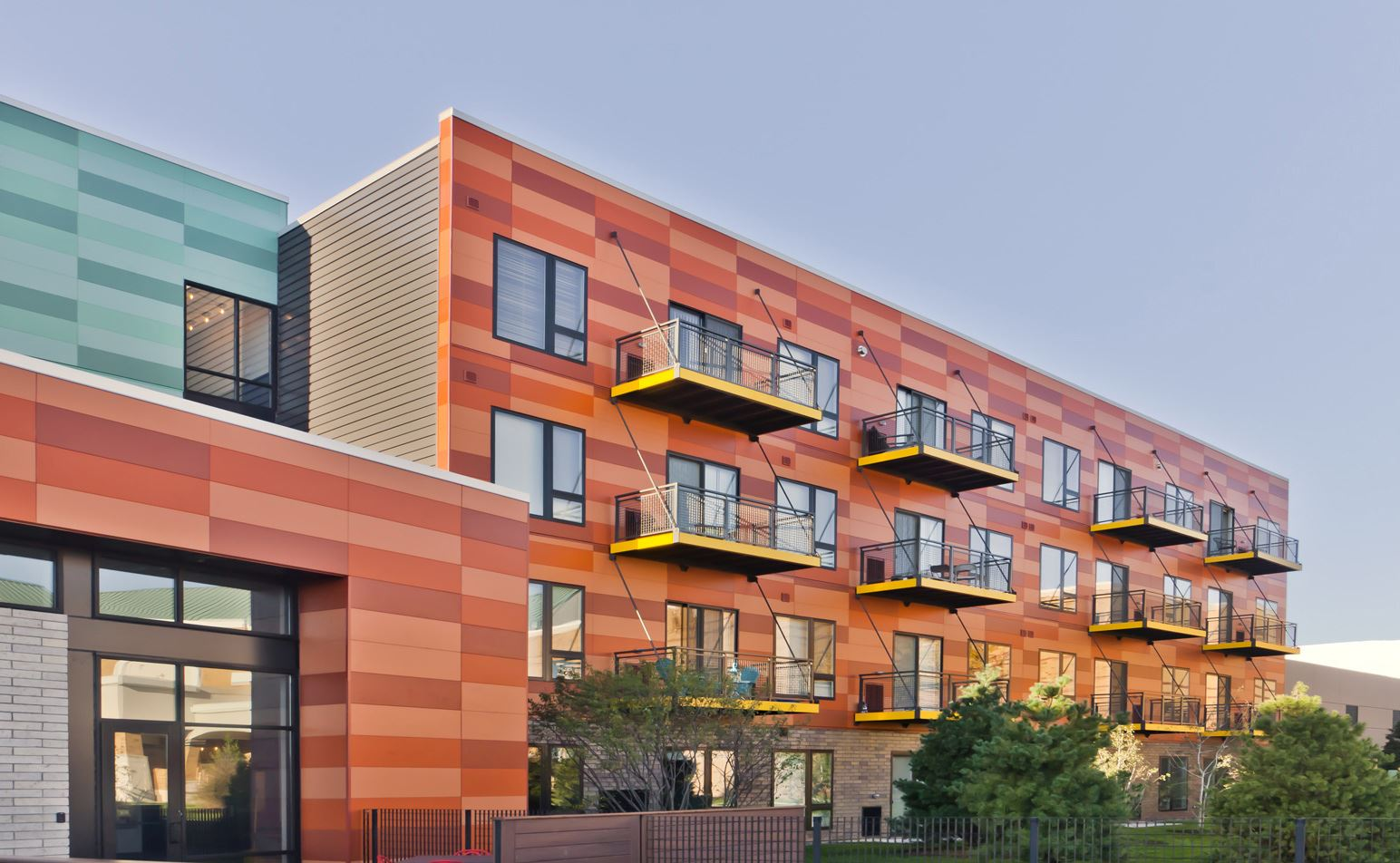 Colorful Multifamily Building with Nichiha panels