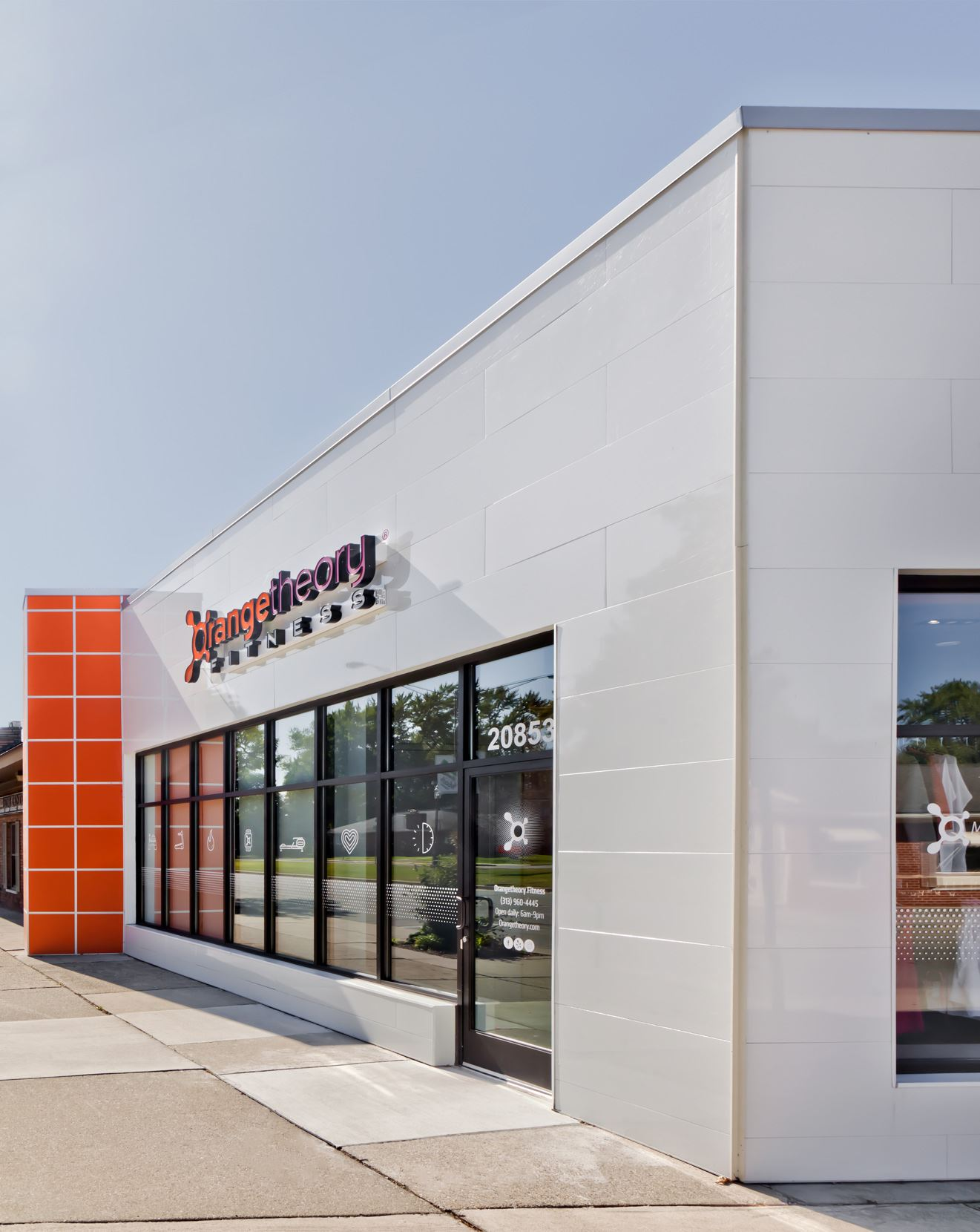 Orange Theory Fitness with Miraia Snow panels on exterior